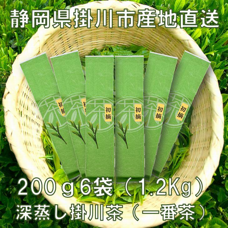 【ふるさと納税】飲み尽くし産直 深蒸し掛川茶(一番茶100%)200g×6袋(1.2kg)セット