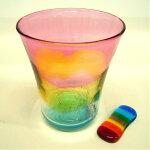 【ふるさと納税】西伊豆手づくりガラス「夕陽グラス&虹色はし置き」