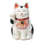 陶彩万福唐草招き猫(右手上げ・大)