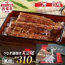 M044三河一色産うなぎ蒲焼大サイズ2尾(1尾約155g)