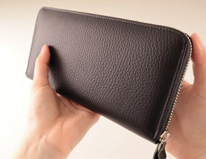 【ふるさと納税】<国産牛革長財布>手触りの良いシュリンク使用、使いやすいラウンド長財布【日本製】