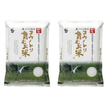 コウノトリ育むお米無農薬(94-001)【2kg×2袋】