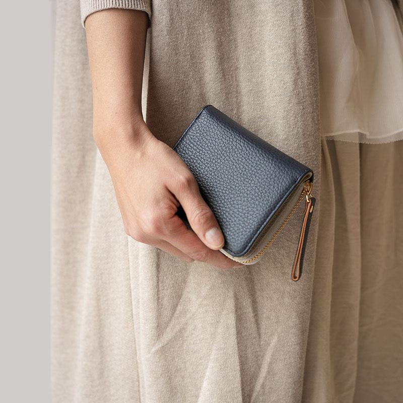 【ふるさと納税】豊岡財布 TUTUMU ITA Z compact Wallet (SW201)ネイビー/ カバン かばん