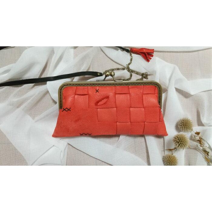 【ふるさと納税】AN11 鹿革コレクション【紅】がまぐち財布ロングモデル