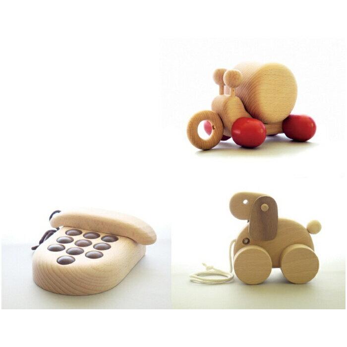 【ふるさと納税】AH5 木のおもちゃ「カタツムリのオルゴール・プッシュフォン・コイヌ」