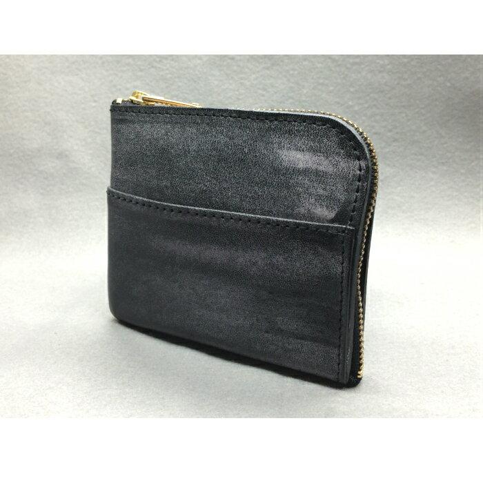 【ふるさと納税】 G-40 L型ミニウォレット(財布)【牛革(ブライドルレザー)】ブラック