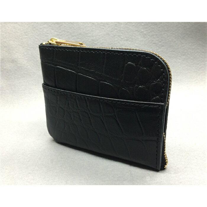【ふるさと納税】 G-40 L型ミニウォレット(財布)【牛革(ラックスクロコ)】ブラック