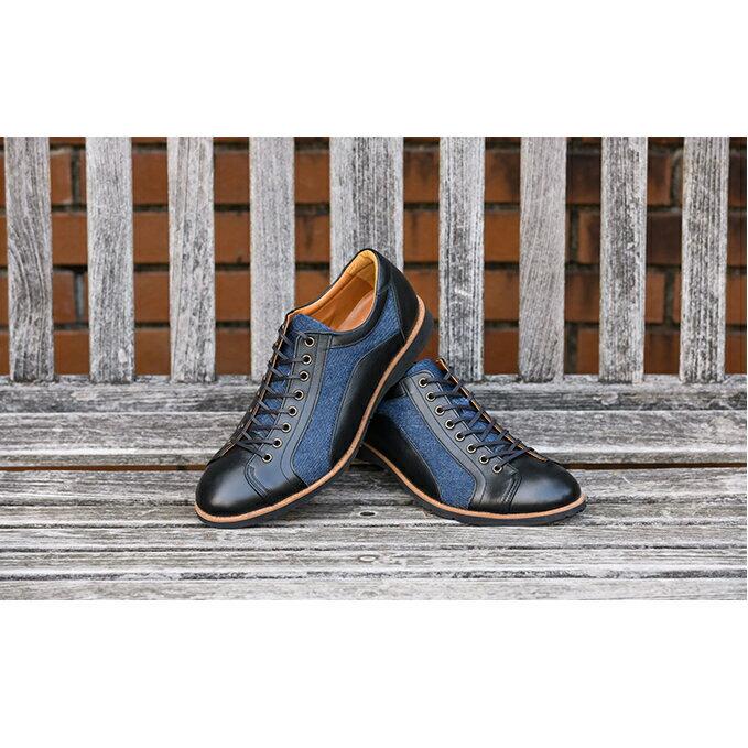 倭イズム 牛革×デニム紳士靴 YA3310 ブラック [ファッション・靴・シューズ]