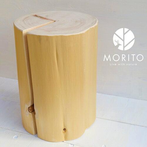 森の丸太スツール[ヒノキ/磨き丸太仕上げ] オットマン 椅子 背割りあり 天然素材 LOGSTOOL