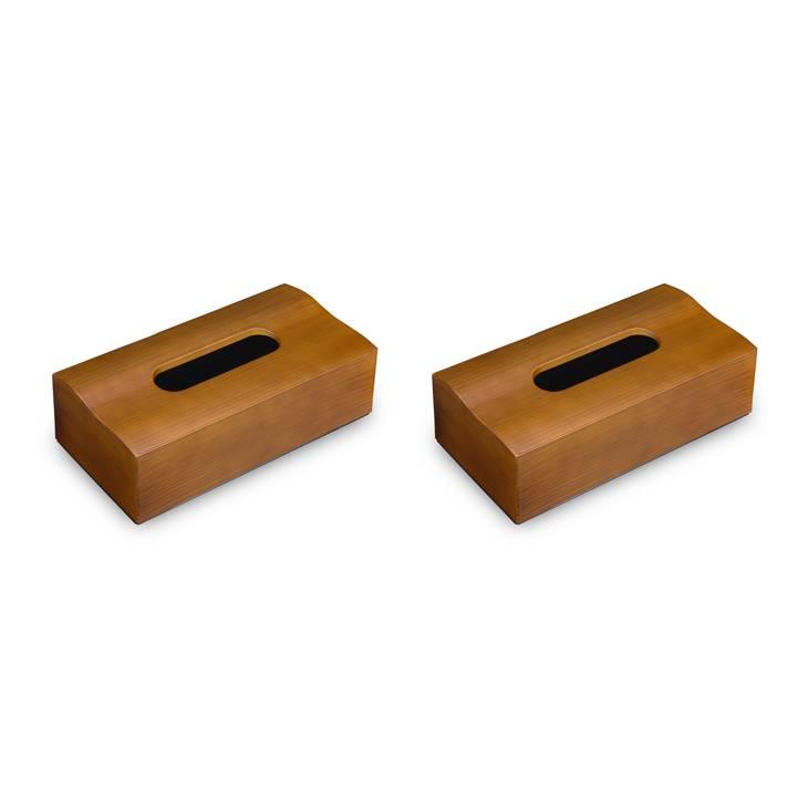 【ふるさと納税】タツクラフト 木目塗り ティッシュ ボックス チーク 2個組 塗り職人がひとつひとつ刷毛で画く、趣のある風合いが魅力。美しいウェーブフォルムの木目調ティッシュケース。 ※着日指定不可