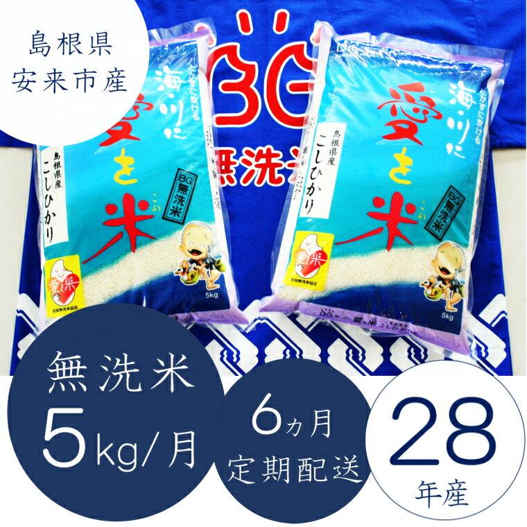 【ふるさと納税】 米 無洗米 定期 BG無洗米コシヒカリ5kg×6ヵ月定期便:島根県安来市