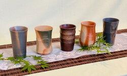【ふるさと納税】0050-I-039備前焼窯相会竹型ビール呑5個セット