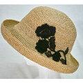 【ふるさと納税】天然ラフィア手編みラメ入りレース付きセーラー帽子