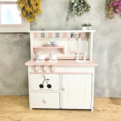 メーベルヒナナ 木製 おままごとキッチン ままごとキッチン Lワイドサイズレンジ ピンク
