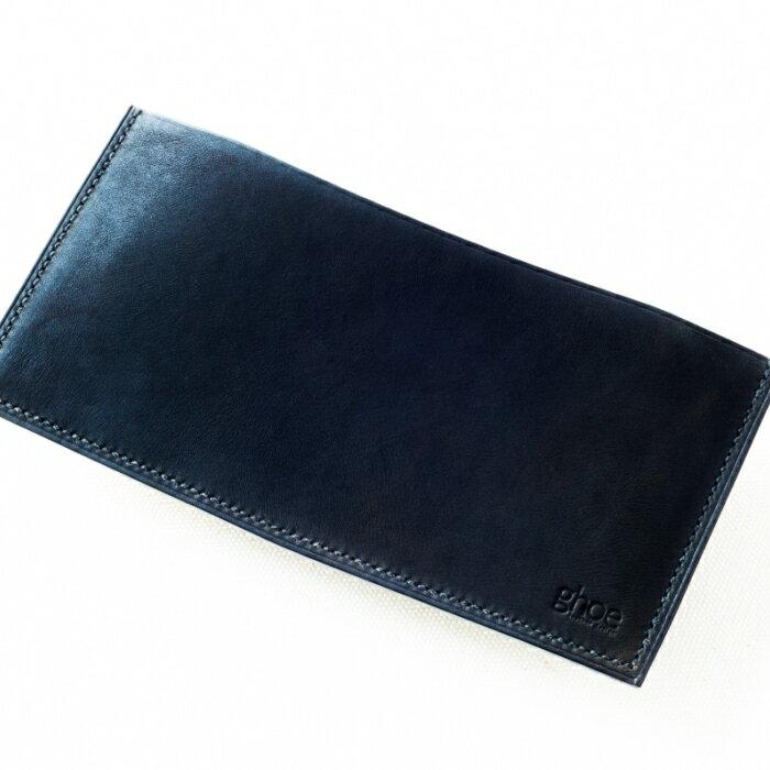 【ふるさと納税】H004a 本藍染イタリアンレザーの薄型札入れ【本革・手縫い】