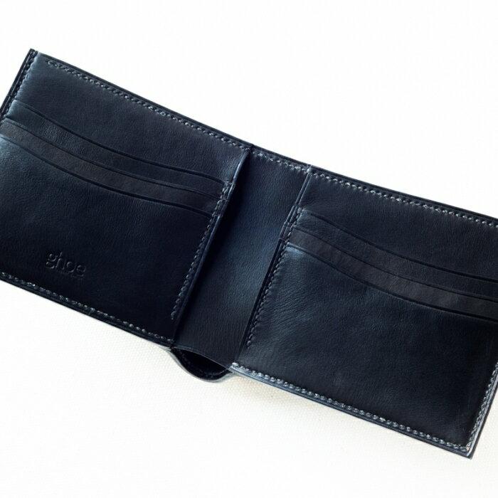 本藍染イタリアンレザーの折財布[本革・手縫い] ZA001a