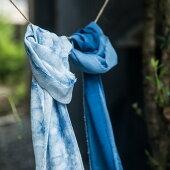 【ふるさと納税】TTS22あまべ藍オーガニックコットンマフラー(藍染)叢雲柄★日本オーガニックコットン協会認定商品!