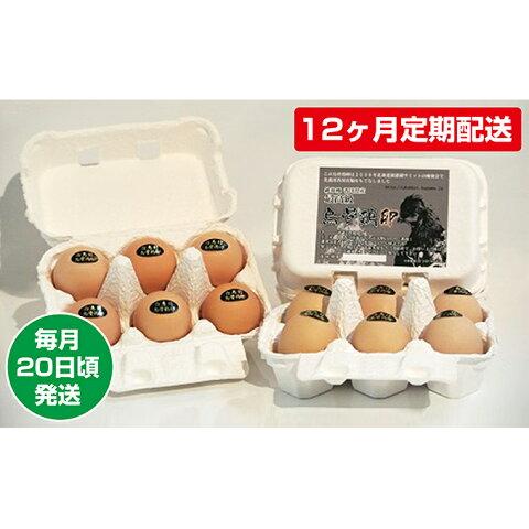 【ふるさと納税】【12ヶ月定期配送】烏骨鶏卵 毎月20日頃発送 【定期便・卵】