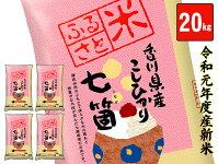 【ふるさと納税】令和元年度産七箇産コシヒカリ20kg