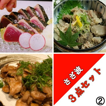 【ふるさと納税】さざ波の詰め合わせ3種セット2 肉 魚 牛肉 鶏肉 かつおのたたき 送料無料 <SZ065>