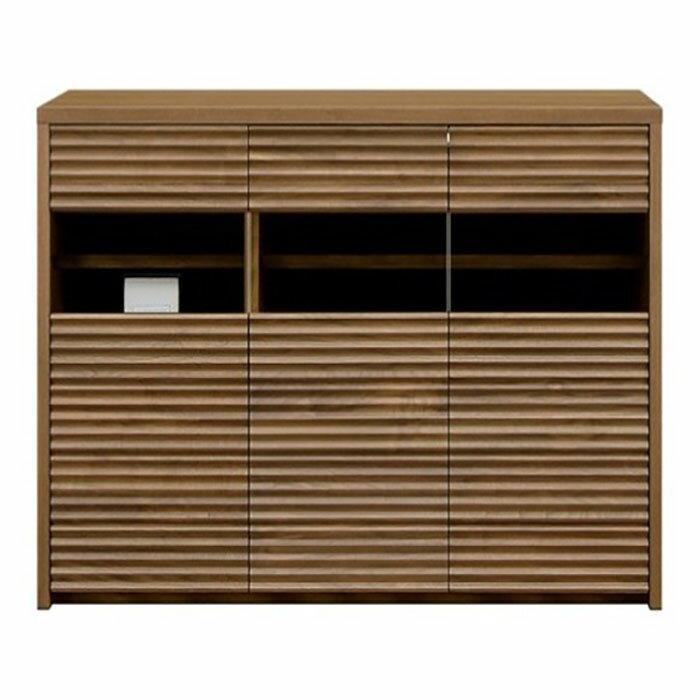 【ふるさと納税】天然木無垢家具コリーナ(サイドボード・リビングボード)120cm【ウォールナット】