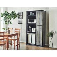 【ふるさと納税】【開梱設置】食器棚 引き戸 L.A. 幅92.7cm ブルックリン キッチンボード レンジ台 家具