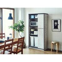 【ふるさと納税】【開梱設置】食器棚 引き戸 L.A. 幅92.7cm アンティークウッドホワイト キッチンボード レンジ台 家具