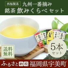 【ふるさと納税】九州一番摘み銘茶飲みくらべ5本セット福岡佐賀鹿児島一番茶煎茶送料無料