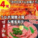 【ふるさと納税】B150.うなぎの蒲焼4尾&博多和牛700g【スタミナ満点!元気セット】