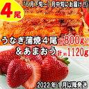 【ふるさと納税】B154.うなぎの蒲焼4尾&いちごの王様あま