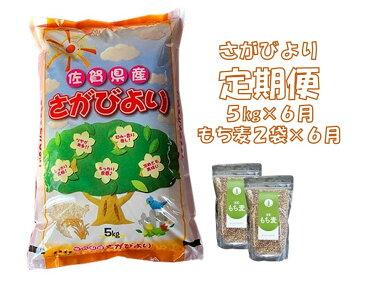 【ふるさと納税】H2-001R 6カ月定期便さがびより5kg&もち麦2袋(計30kg・12袋)