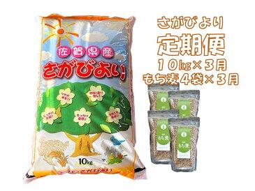 【ふるさと納税】G7-002R 3カ月定期便さがびより 10kg&もち麦4袋(計30kg・12袋)