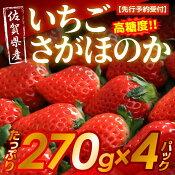 【ふるさと納税】【先行予約受付】佐賀県産高糖度いちごさがほのか270g×4