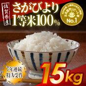 【ふるさと納税】【29年度産新米】佐賀県産さがびより1等米100%15kg