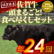 【ふるさと納税】佐賀牛一頭分188kg相当プレミアム定期便(月2回配送×12ヶ月)