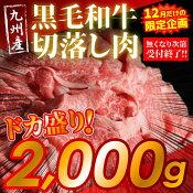 【ふるさと納税】【12月限定】九州産黒毛和牛切落し肉2000g
