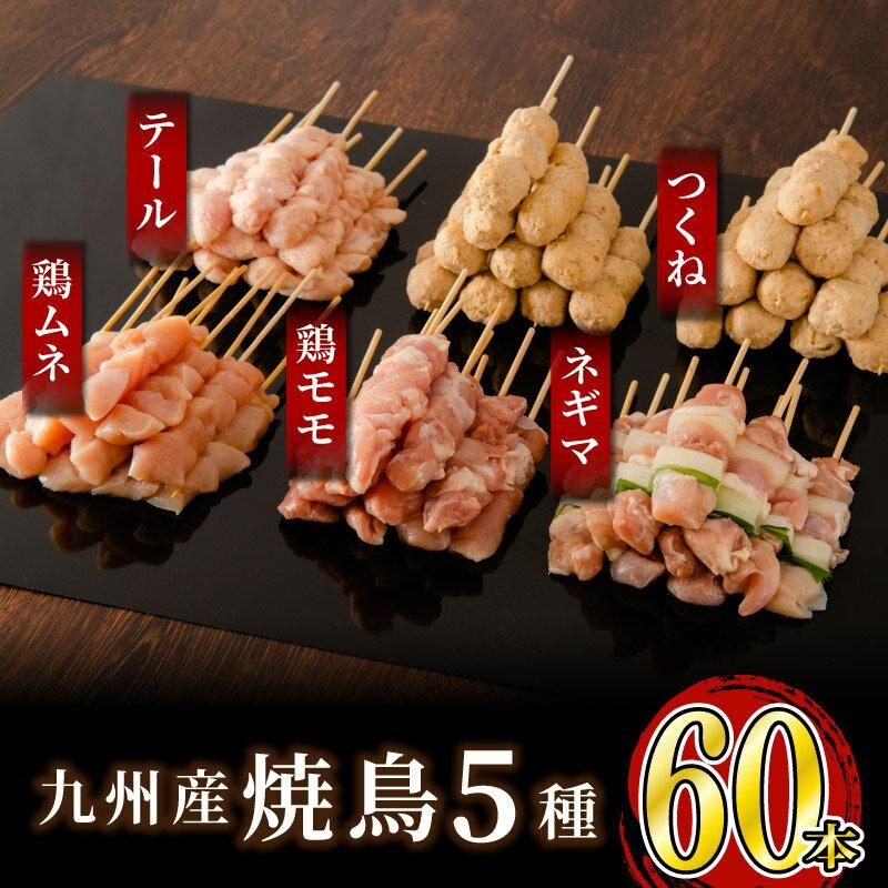 絶品!九州産焼鳥 5種盛合せ 60本(特製焼き鳥のタレ付き)