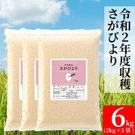 【ふるさと納税】【増量】令和2年産米さがびより6キロ(2kg×3)(BG116)