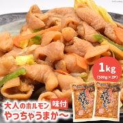 【ふるさと納税】味付大人のホルモンやっちゃうまか〜1kg(500g×2P)