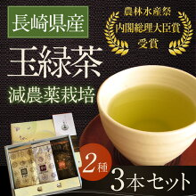 【ふるさと納税】長崎県産玉緑茶3本セット(2種類)