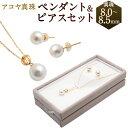 【ふるさと納税】アコヤ真珠 ペンダント&ピアスセット 真珠8...