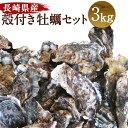 【ふるさと納税】長崎県産 殻付き牡蠣セット 3kg 軍手・牡...