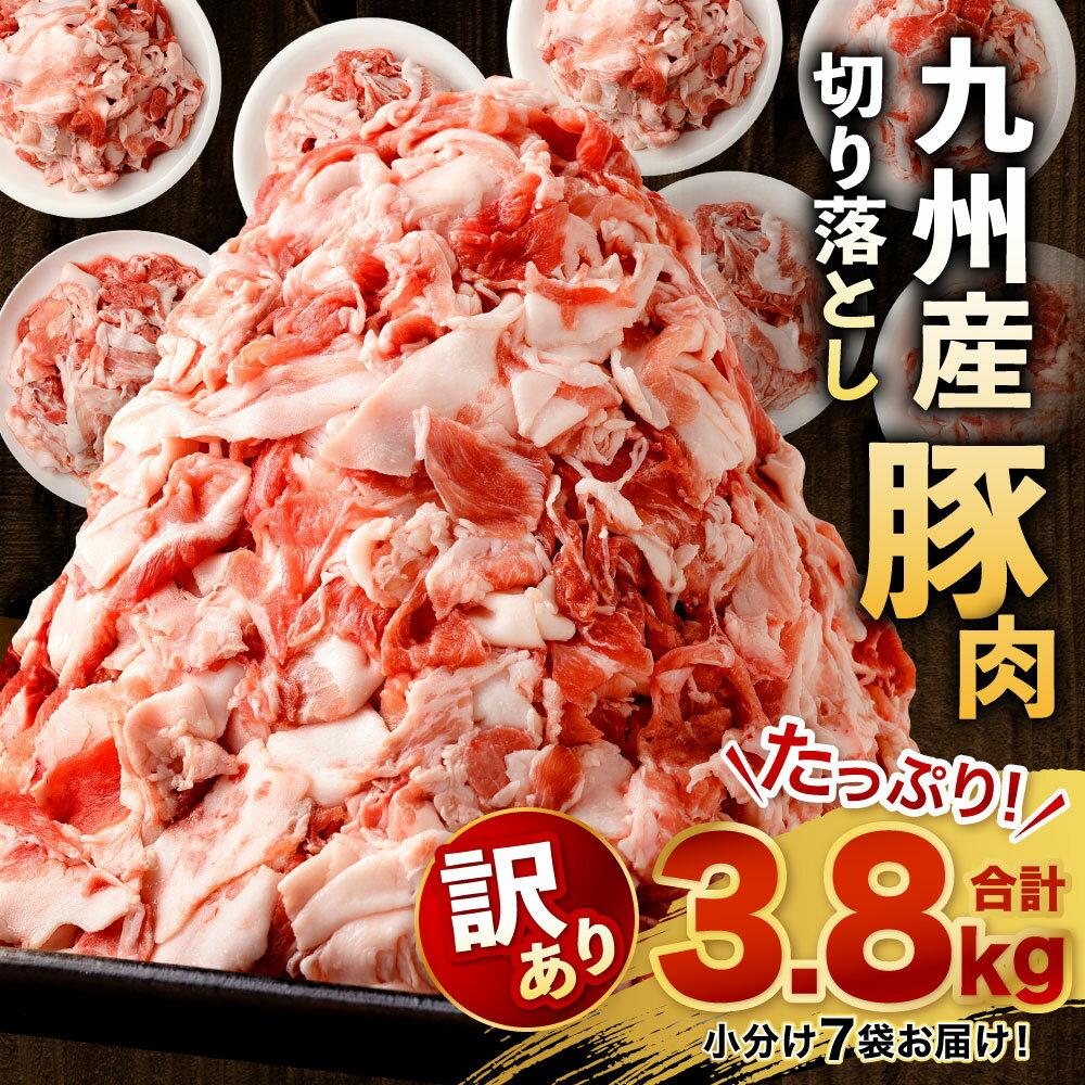[訳あり]九州産 豚 切り落とし 合計3.8kg たっぷり 7袋小分け 豚肉 お肉 切落し 小分け 冷凍 国産 九州 送料無料 規格外 フードロス 不揃い