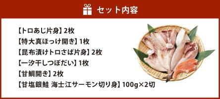 【ふるさと納税】八代海鮮太郎のおいしい干物お魚セット6種合計8枚+2切れトロアジトロサバホッケつぼ鯛甘鯛サーモン鮭詰め合わせ魚介類ひものおかず冷凍送料無料