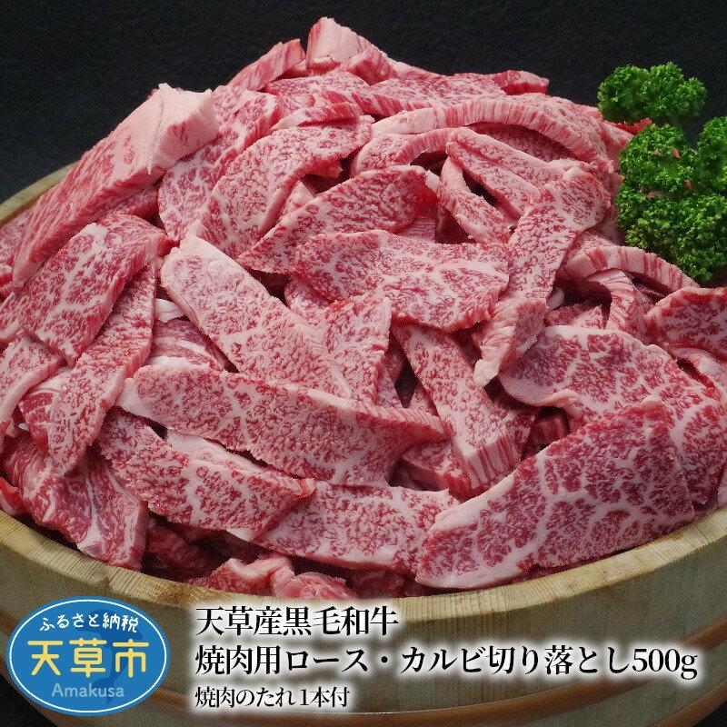 天草産黒毛和牛 焼肉用ロース・カルビ切り落とし 500g 焼肉のたれ 1本付