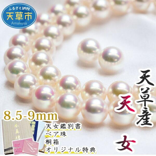 ふるさと納税 天女鑑別付天女ネックレスペア珠セット8.5-9mmピアスイヤリングあこや真珠