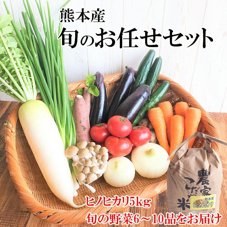 【ふるさと納税】 お米(ヒノヒカリ)5kg・旬の野菜セット(6〜10品目) 野菜 米 ヒノヒカリ 詰め合わせ お任せ 国産 熊本県 和水町