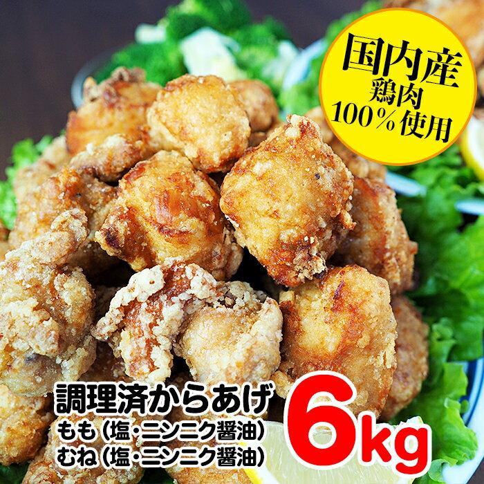 【ふるさと納税】熊本県 球磨村 幸せのからあげ ブラックセット 調理済 6kg もも むね 塩・にんにく醤油 唐揚げ 鶏肉 とり肉