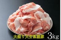 【ふるさと納税】味も量も自信あります!大分県産豚切り落とし3kg