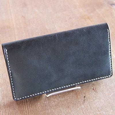 【ふるさと納税】手作りレザーの長財布(ブラック) YS01【1088777】